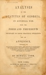 1846 Cobb's Analysis of Statutes by Howell Cobb Sr.